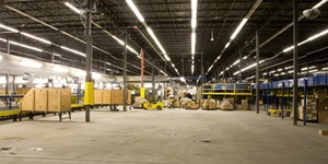 A warehouse of equipment used to represent commercial real estate from Howland Development in Wilmington, MA