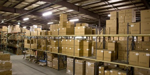 A warehouse full of boxes representing commercial real estate from Howland Development in Wilmington, MA